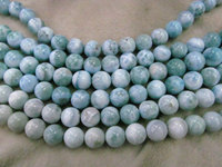 Großhandel Natur Larimar Stein, Larimar Perle Glatte Korn, Naturstein, halb Kostbare Perle, blaue Perle Larimar Halskette 6-12mm