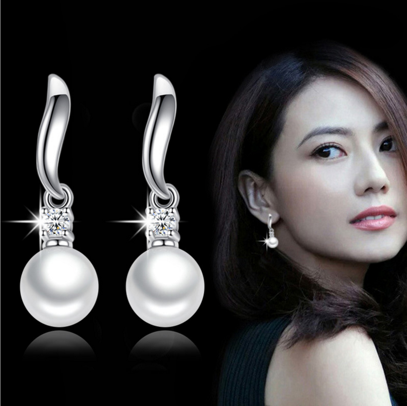 ANENJERY 925 Sterling Perak Mutiara Zirkon Anting-Anting untuk Wanita Perhiasan S-E183