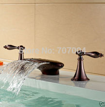 Oil Rubbed Bronze Deck Mounted Waterfall Hot and Cold Basin Faucet Dual Handles