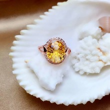 shilovem 925 sterling silver Piezoelectric citrine Rings fine Jewelry women trendy wedding open Christmas gift  xkj121606agj