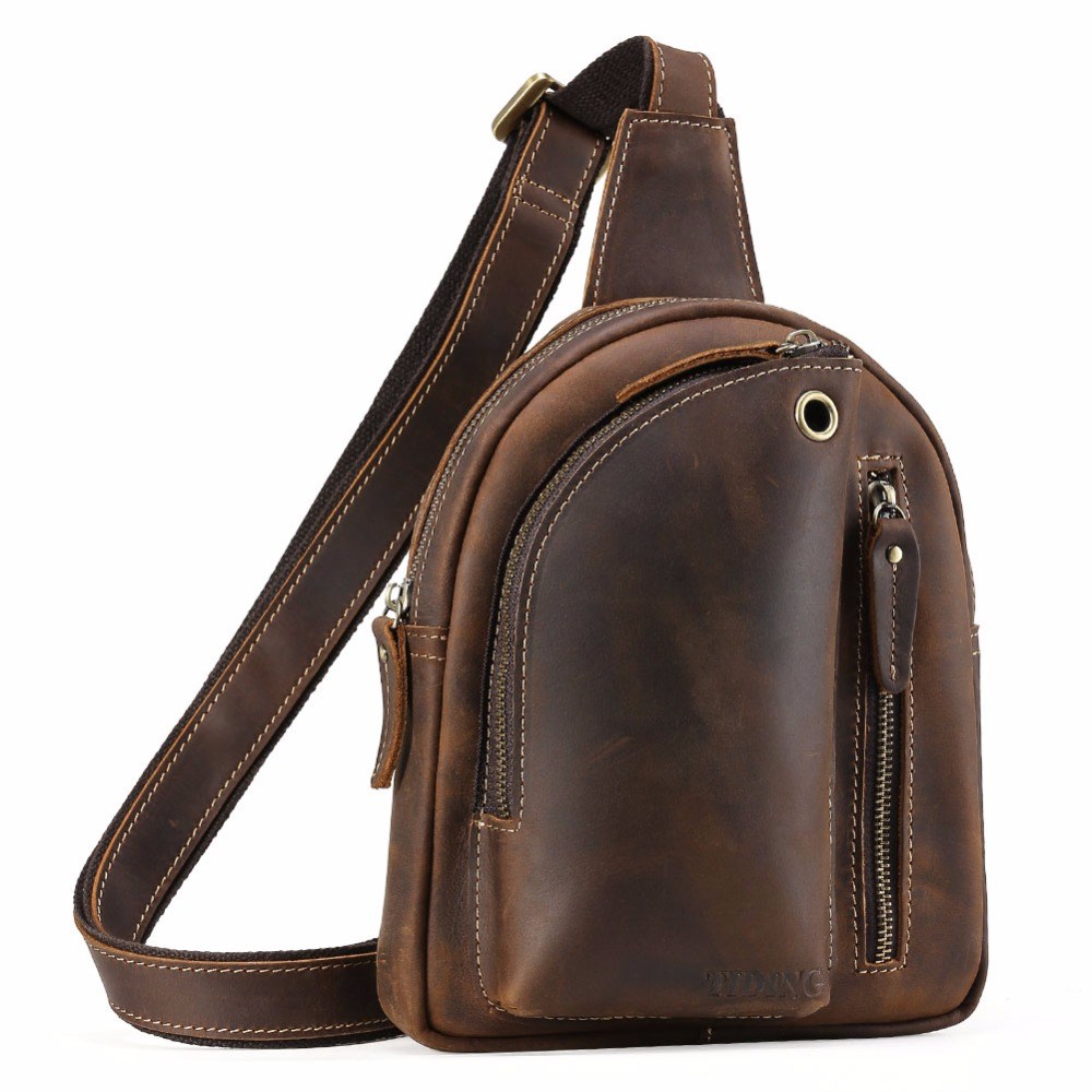 tiding crazy horse leather one shoulder pack cross body travel bag for men women 3141 TIDING Crazy Horse Genuine Leather Shoulder Pack Cross body Bag Clutch Handbag with Headphone Hole For Men Women 3177