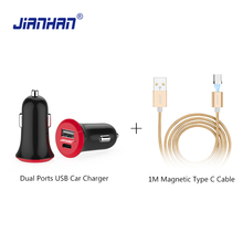 JianHan Dual Ports USB Car Charger 3.1 Type C Port and 2.0 5V 3A for iPhone Huawei Mate 8 Samsung