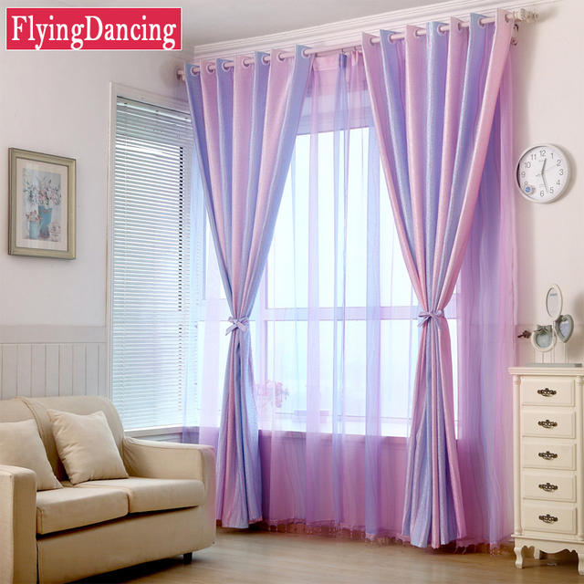 Moderne Strip Roze Paars Jacquard Meisje Kamer Gordijnen Home Decor ...