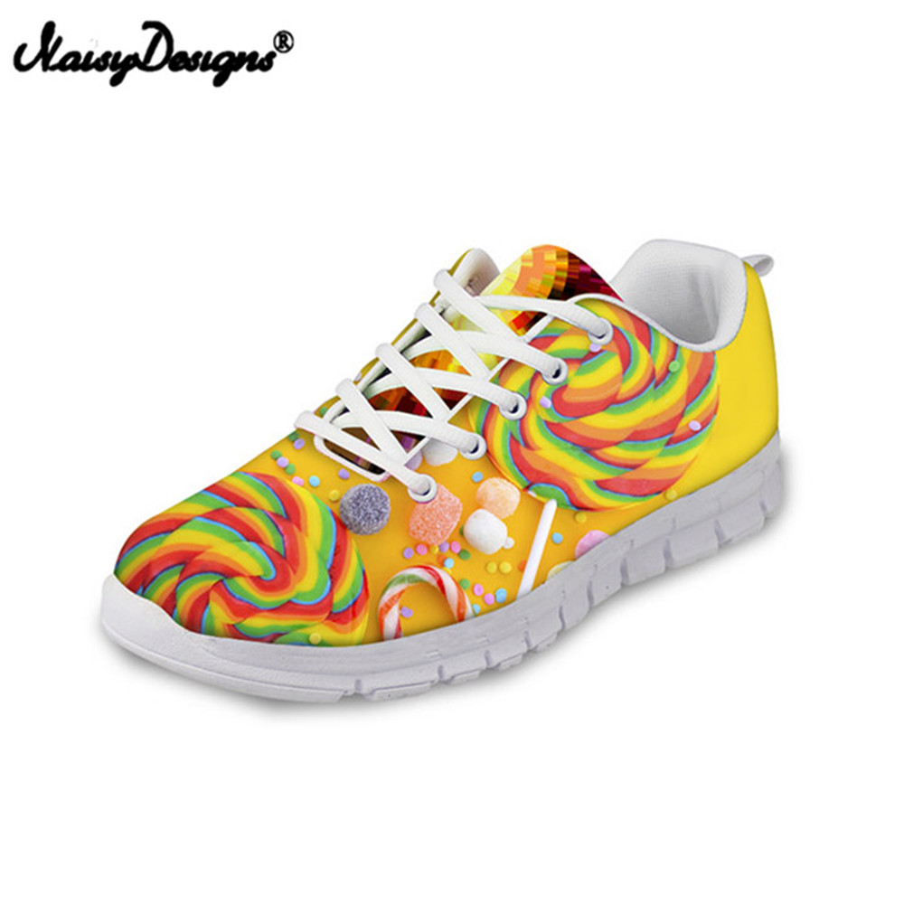 NOISYDESIGNS Rainbow Lollipop Women Air Mesh Sneakers Light Weight Adult Female Lace up Flat Shoes Body Shaping Fitness Shoes pinsen fashion women shoes summer breathable lace up casual shoes big size 35 42 light comfort light weight air mesh women flats