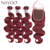 NAYOO שיער מראש בצבע #33 גל גוף ברזילאי גל גוף ברזילאי חבילות שיער עם סגירת חלק חינם תחרה שיער ללא רמי אדם