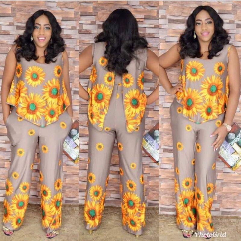 2017 Plus Size Afrikaanse Stijl Voor Vrouwen Fashion Design Traditionele Jumpsuit Grote Elastische Ijs Zijden Pak Voor Lady (ltbf # Xing)