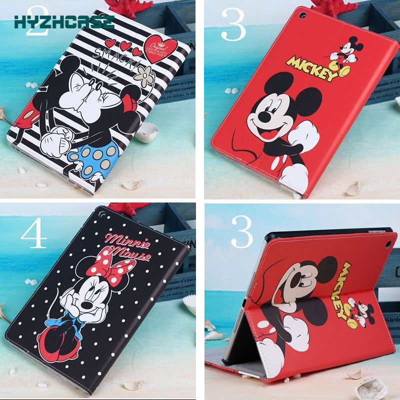 Free Shipping Cartoon Minnie Mickey Mouse Flip Leather PU Case For Samsung Galaxy Tab 4 10.1