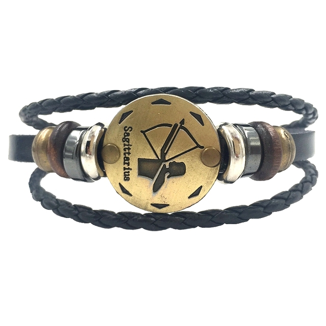 Zodiac Sign Bracelet In Leather