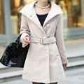 Women's Waist Wool Woolen Overcoat Medium-Long Slim Woolen Outerwear Belt Female