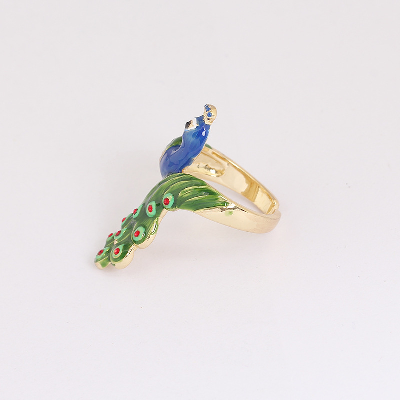 Auspicious Ethnic Style Originality Luxury Jewelry Products Peacock Enamel Gold Party Ring For Women Gift bella fashion lovely crown frog animal party ring green enamel open ring gold tone for women girl party daily jewelry gift