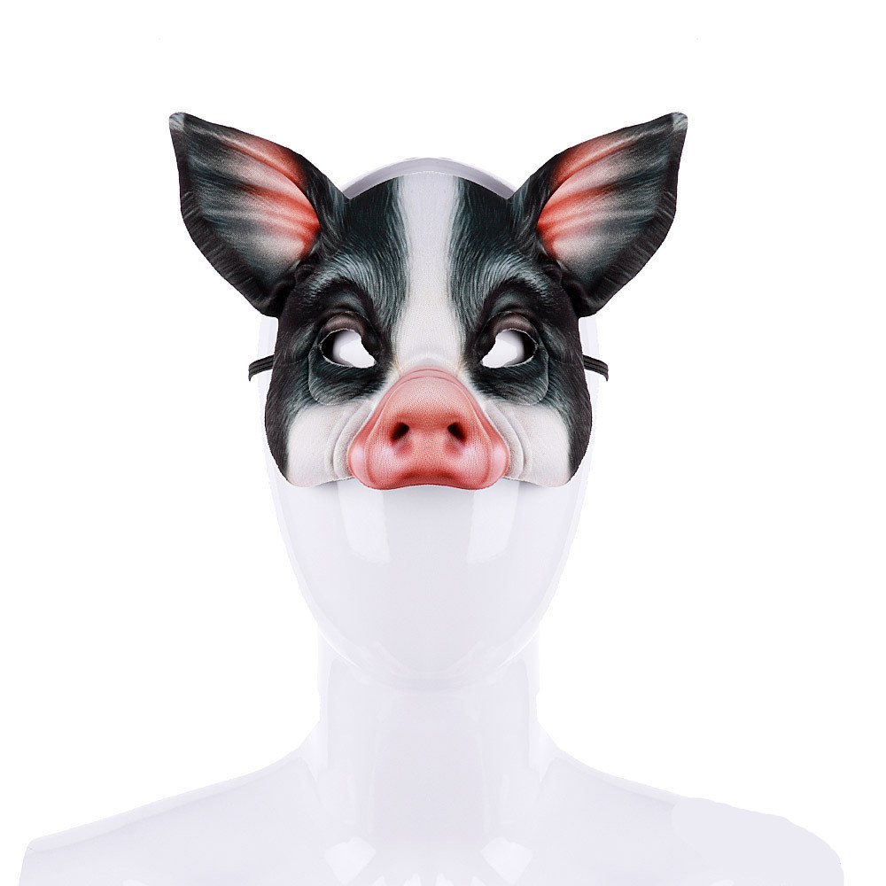 Funny Carnival Party Animal Realstic Half Face White Black Anime Cosplay EVA 3D Pig Mask Carnival purim  Prop