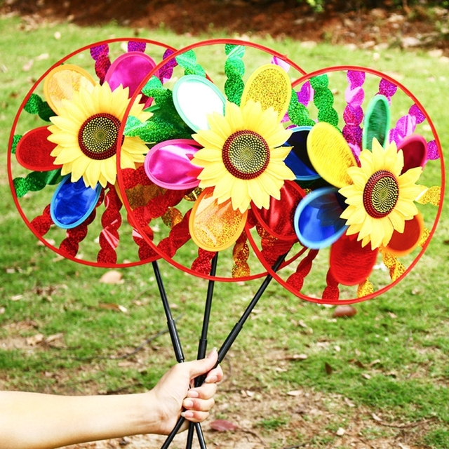 Colorful Sunflower Windmill Wind Spinner Home Garden Yard Decoration