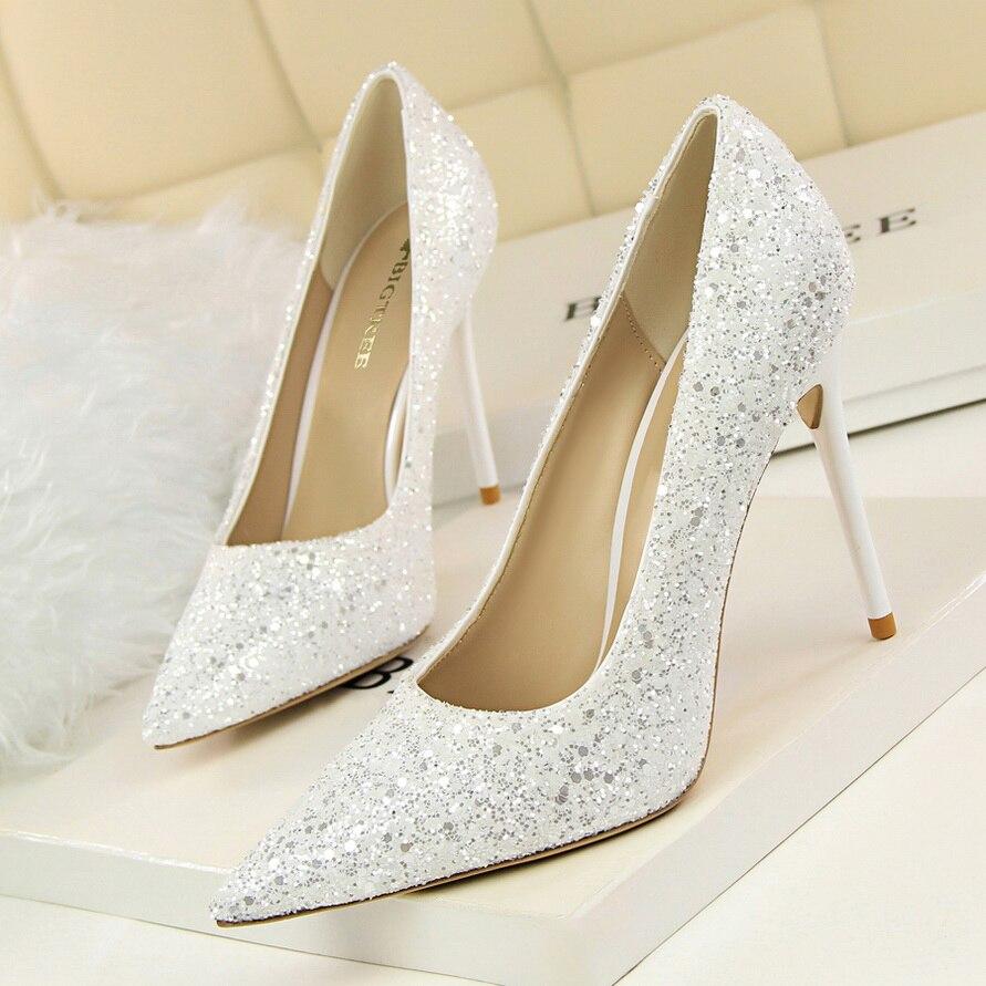 Sexy OL Women Singles Shoes 2016 Temperament Shiny Sequins Sexy Poinets Toe Women's Pumps Shoes 8 Colour