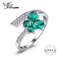 JewelryPalace Butterfly 1ct Nano Russian Created Emerald Ring For Women Pure 925 Sterling Silver Jewelry Newest Ring Party Gift