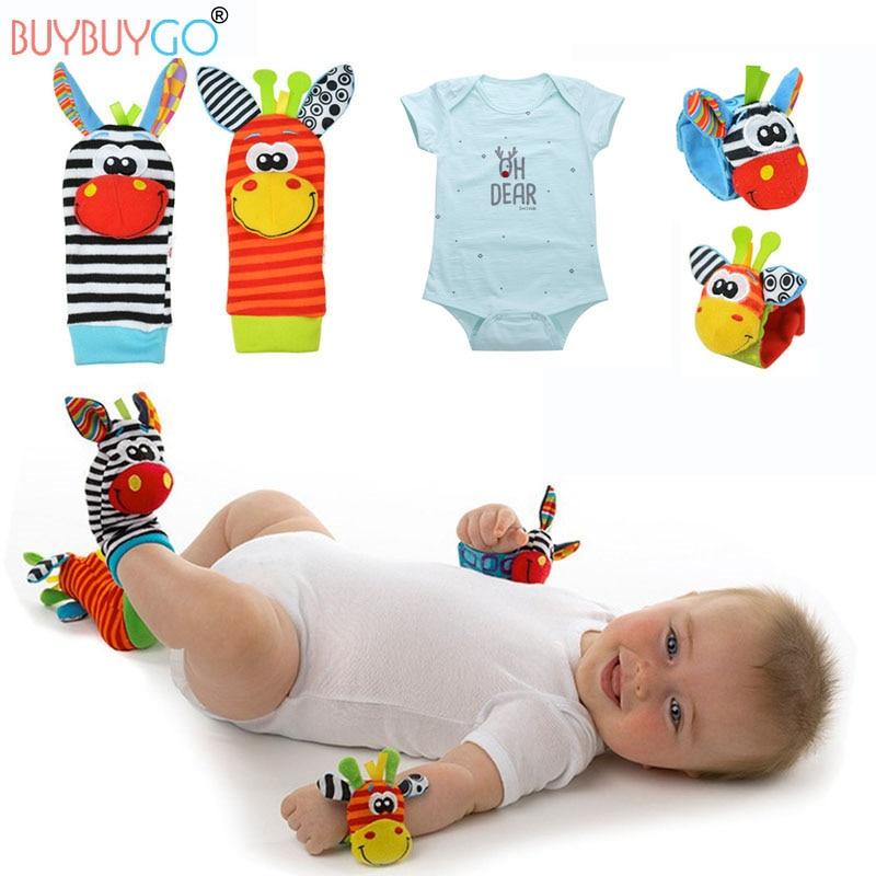 Baby's Set 4Pcs Baby Socks & Hand Wrist Bells + 1Pc Baby Bodysuit Cute Animal Cartoon Christmas Cotton Infant Rattles Sock Toys cotton socks brief paragraph girl cartoon socks monoblock cartoon socks wholesale