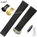 Zlimsn 22mm correas de reloj de silicona reloj de buceo banda de goma para mujer para hombre negro delgado correa de hebilla de cinturón de acero inoxidable marca relogio