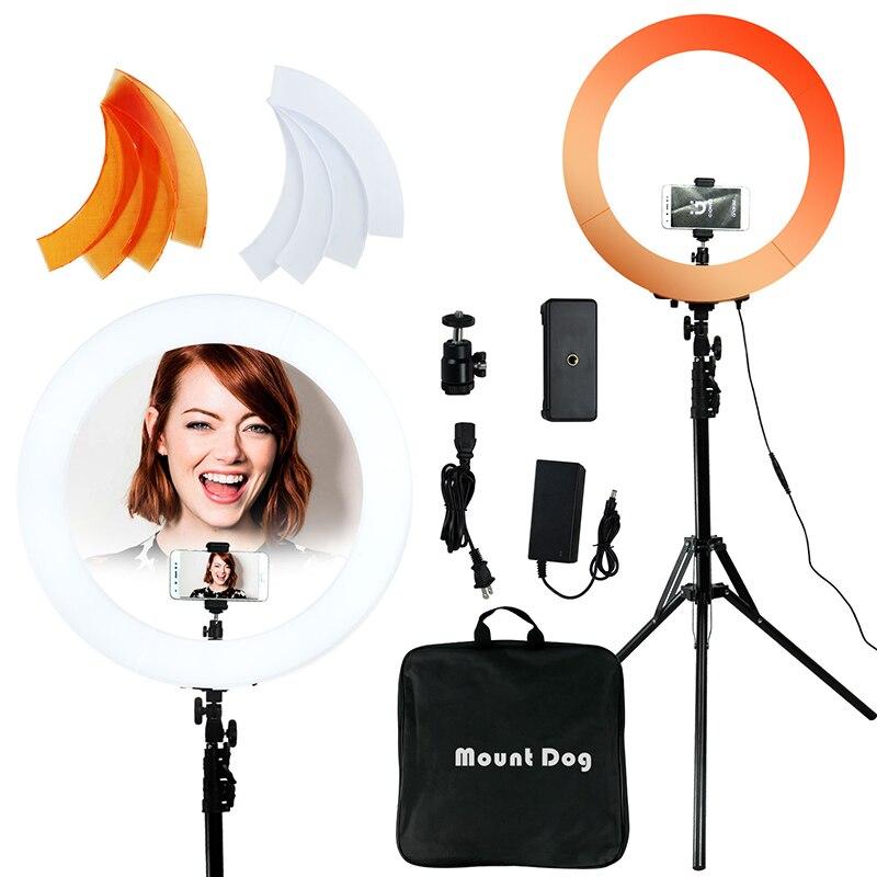 LED vidéo anneau lumière MountDog 18 pouces Selfie 3200 k-5600 k avec trépied pour Studio anneau lampes photographie YouTube Photo Makeuplight