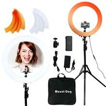 Led ビデオリングライト mountdog 18 インチ用三脚 selfie 3200k 5600k スタジオリングランプ写真撮影 youtube 写真 makeuplight