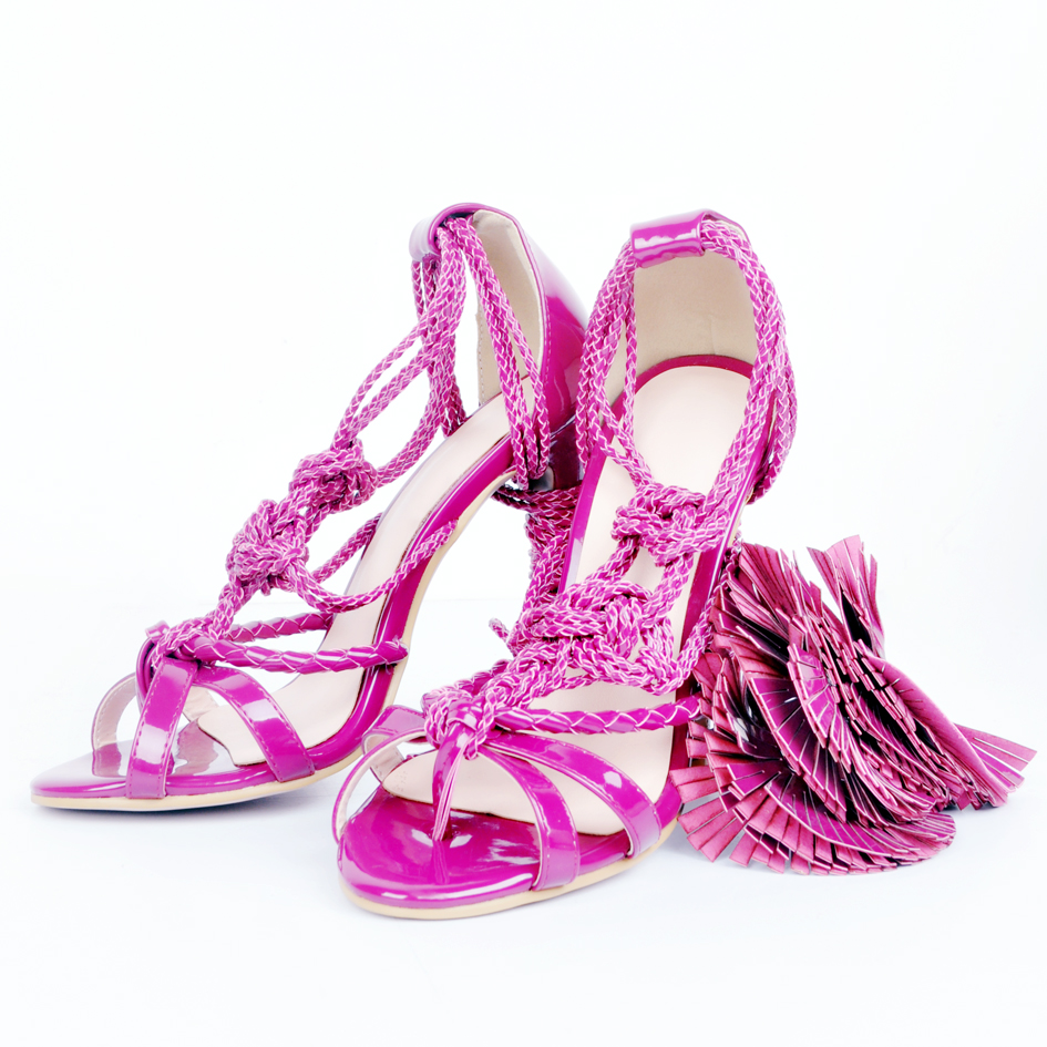 Designer européen mode gland en cuir verni mince à talons hauts sandales femmes Rose été violet robe de soirée chaussures - 3