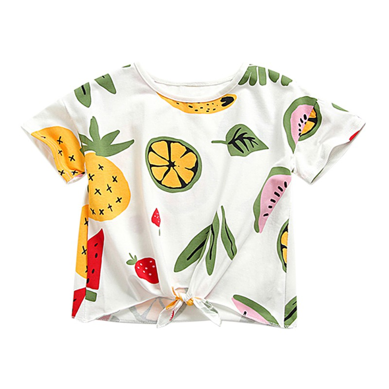 T-Shirt Girls Blouse Short-Sleeve Flower-Print Baby Kids Children Summer New Tees