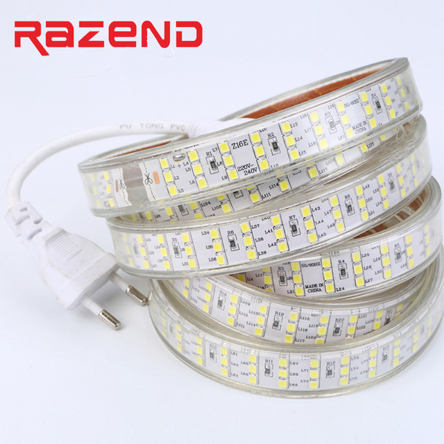 276Leds/m SMD 2835 LED Strip 220V 240V Waterproof Three