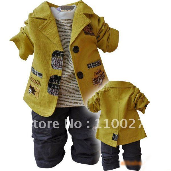 e1dcb627eee6 Wholesale boy s suits baby wear 3pcs clothing set Tee+coat+pants ...