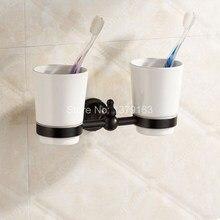 Аксессуары для ванной комнаты Черный Цвет Масло Втирают Латунь Ванна Настенные Ванная Держатель Зубной Щетки Установить Двойные Керамические Чашки aba828
