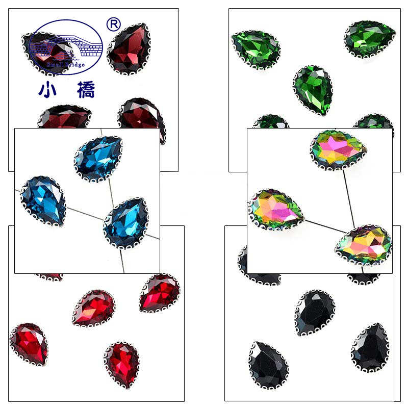 Metel Cakar Kristal Menjahit Berlian Imitasi Warna-warni Flatback Berlian Imitasi untuk Pakaian Gaun Tetesan Air Kaca Dekoratif Batu S143