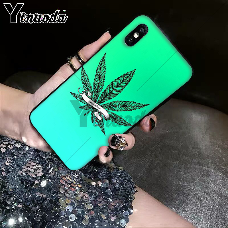 Yinuoda Abstractionism Art high weed Newly Arrived Black Cell Phone Case for iPhone 6S 6plus 7 7plus 8 8Plus X Xs MAX 5 5S XR