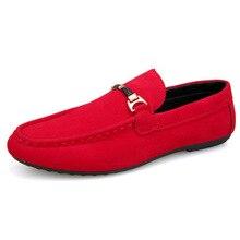 e5bfe6b25 الأحمر الجلد المدبوغ أزياء حذاء رجالي جلد عارضة الانزلاق على الذكور الأحذية  رجل أكسفورد الشقق حذاء مريحة القيادة أحذية رياضية كا.