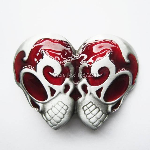 9e4e1ae19d10 Nouveau Rouge Émail Vintage Gothique EMO Rocker Double Tête Crâne Boucle de  Ceinture gürtelschnalle boucle de