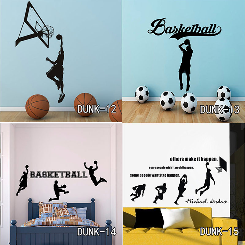 Michael Jordan Play Basketball Wall Stickers Home Decor Wall Decals For Kids Room Decoration Vinyl Stickers Just Do It Art Mural