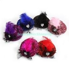 6pcs/lot Fashion Mini Hat Clip Paillette Bling Heart Shaped Crystal Feather Hair Clip Girls Fascinators Party Headwear Headdress