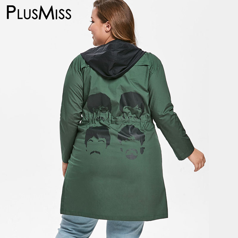 PlusMiss Plus Size Printed Drawstring Waist Hooded Jacket Coats Women Autumn Spring Casual Long Windbreaker Oversized Outerwear