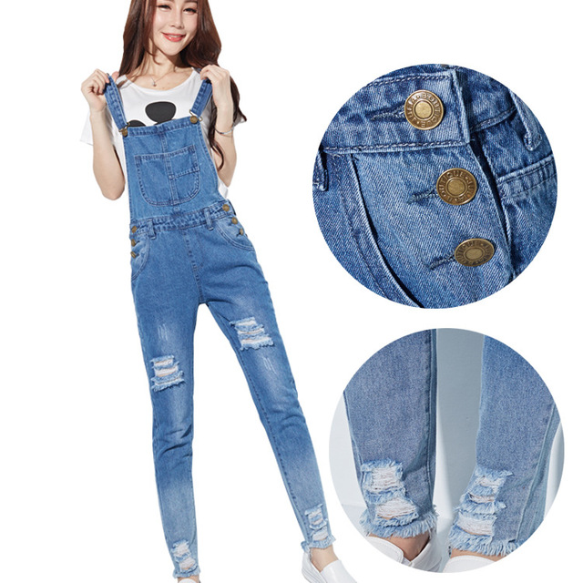 Autumn Fashion Women Skinny Jeans Jumpsuits Straps Cotton Denim Playsuits Pants Women Hole Overalls Preppy Style Denim Jumpsuits Jumpsuits Aliexpress