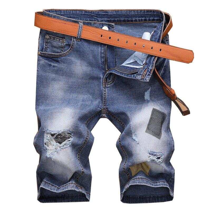 Denim Shorts Jeans Elastic Personality-Pattern Men's Casual Fashion Summer Brand Blue