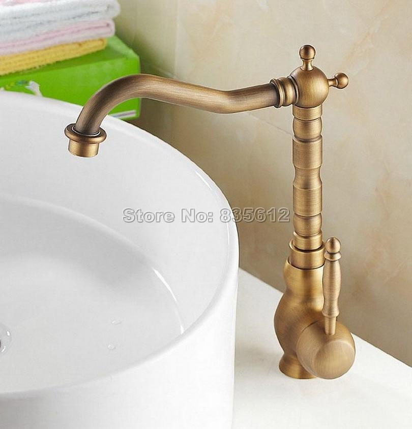 Robinet mitigeur de lavabo de salle de bains en laiton Antique monté sur pont/mitigeur + mitigeur pivotant monotrou Wan001 - 3