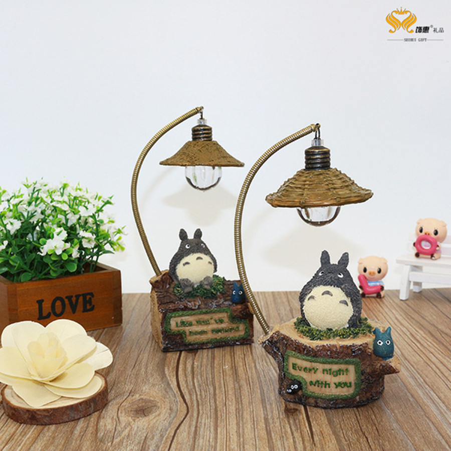 Cute Totoro LED Table Lamp Romantic Night Light Home Table Desktop Decoration Lamp Creative Crafts Students Children Kids Gifts mini cute black cat night light table lamp home