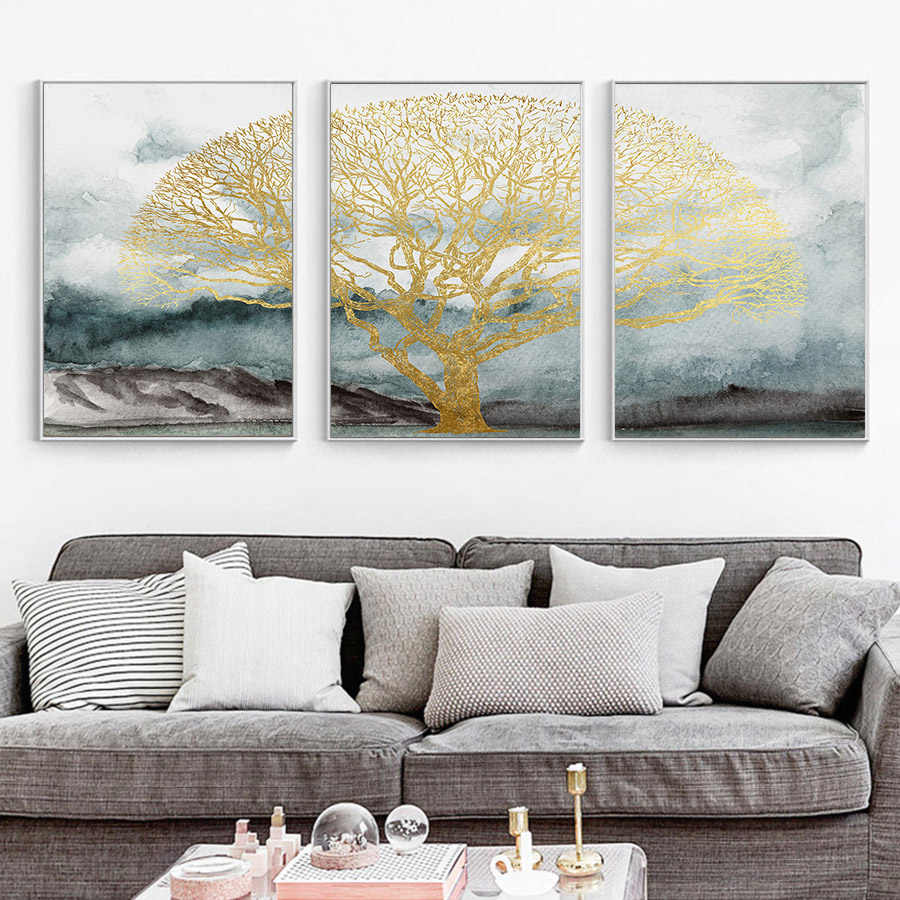 Blue Gold Posters and Prints Abstract Oil Painting Large Tree Wall Art Picture Nordic Hand Painted Abstract Canvas Pop Art Decor