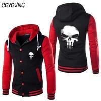 COYOUNG High Quality Design Stylish Punisher Skull Hoody Mens Cosplay Hoodies Cool Slim Baseball Jacket Costume Coat