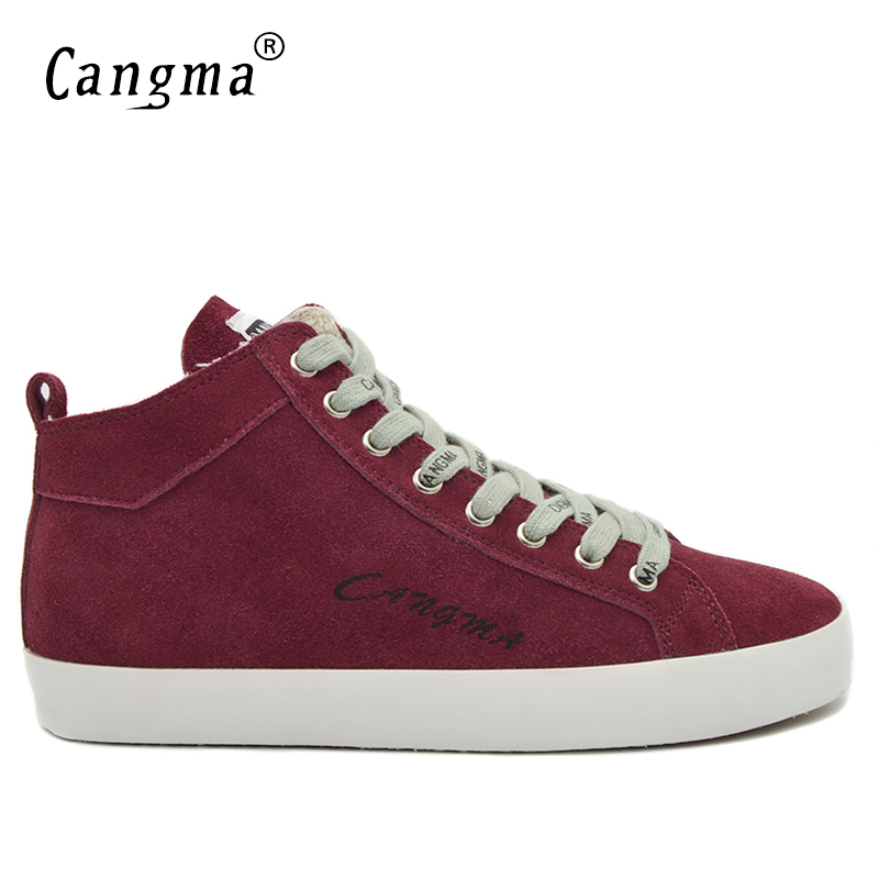 CANGMA Luxury Brand Sneakers Men Shoes Retro Cow Suede Mid Footwear Genuine Leather Autumn Male Flats Wine Red Man Casual Shoes vesonal 2017 brand casual male shoes adult men crocodile grain genuine leather spring autumn fashion luxury quality footwear man page 7