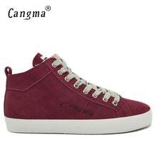 CANGMA Luxury Brand Fashion Mens Shoes Retro Cow Suede Mid Footwear Genuine Leather Autumn Male Flats Wine Red Man Casual Shoes