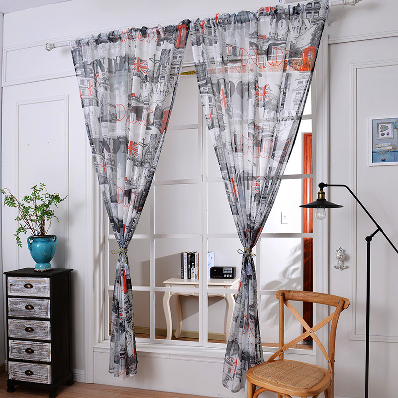 Creative British Flag Gauze Tulle Voile Sheer Cotton Fabric Curtains Window Screening For Cafe