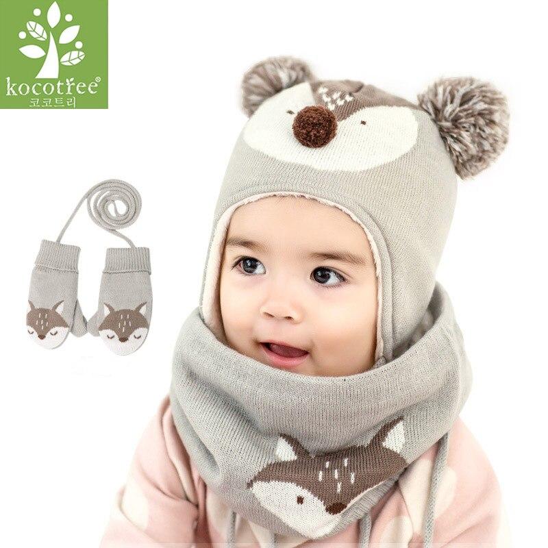 Kocotree 2 teile/los Baby Winter Hut & Schal Baby Winter Cap Kinder Warme Schal Für Jungen Anzug Beanie Hüte Schals für Mädchen Junge