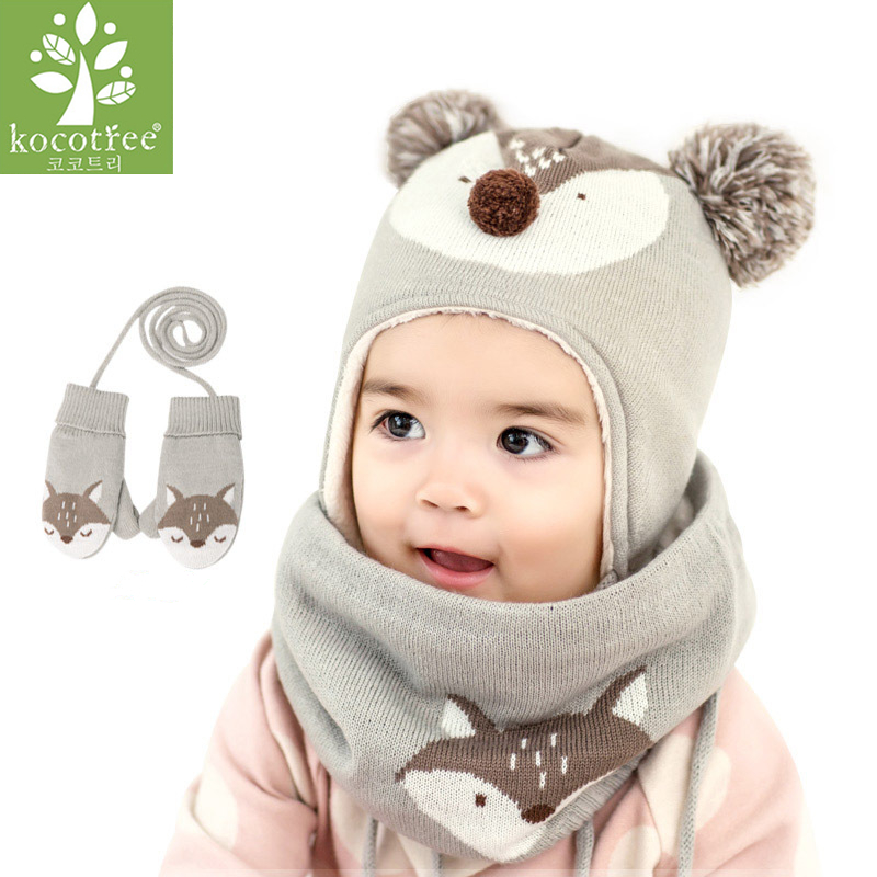 цена на Kocotree 2pcs/lot Baby Winter Hat & Scarf Baby Winter Cap Children Warm Scarf For Boys Suit Beanie Hats Scarfs For Girl Boy