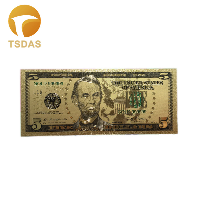 Colored US Banknotes $<font><b>5</b></font> <font><b>Dollars</b></font> American <font><b>Bill</b></font> 999 Gold Banknotes for Collection Free Shipping 10Pcs/lot Currency Crafts image
