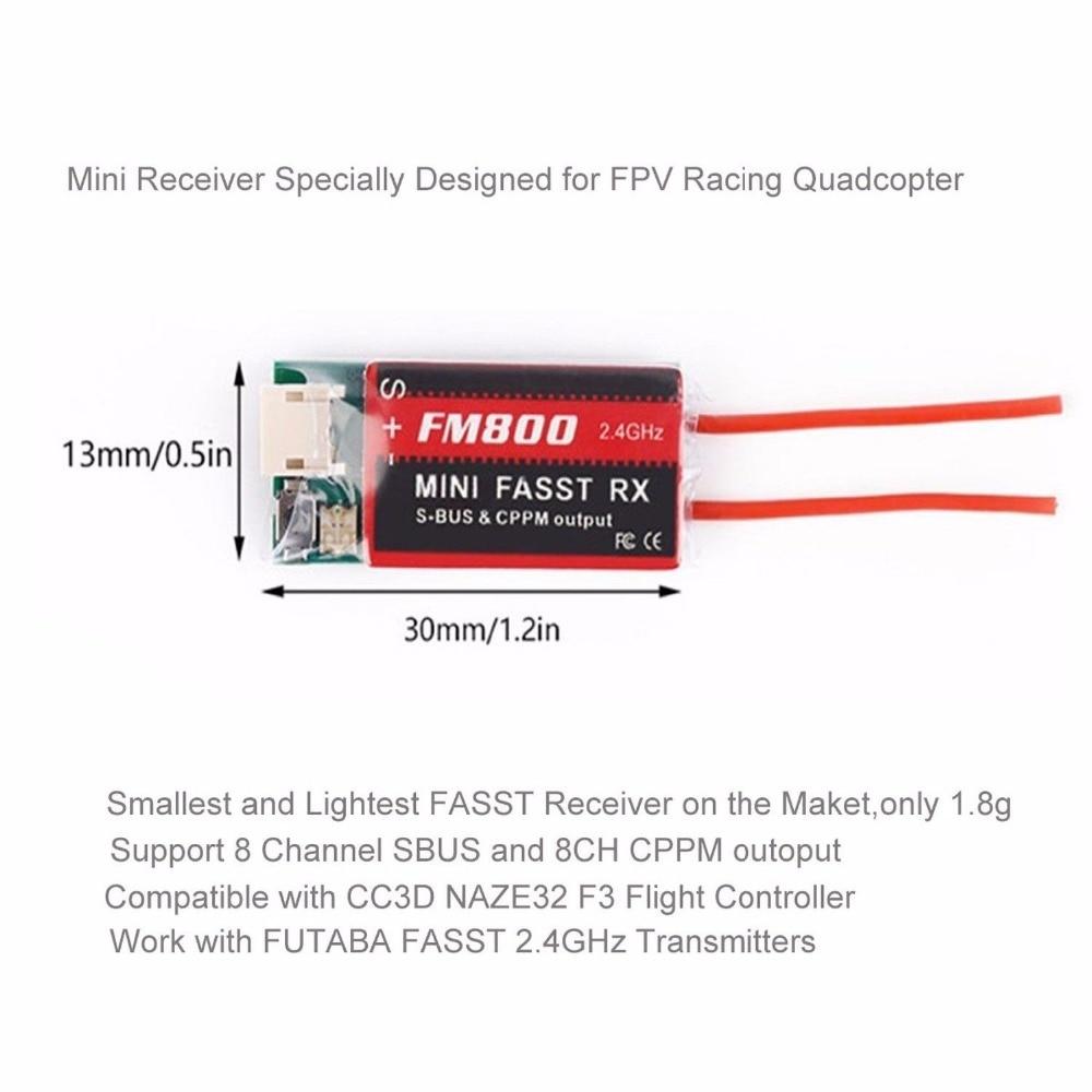 Mini Futaba FM800 FASST SBUS CPPM RX 8CH Receiver For Futaba FPV QAV-X Racing Quadcopter Indoor Mini Drone Tiny TQ90 90-120 free shipping sf800 2 4ghz mini s fhss fpv receiver rx futaba remote controller s bus sbus cppm compatible 8 channels