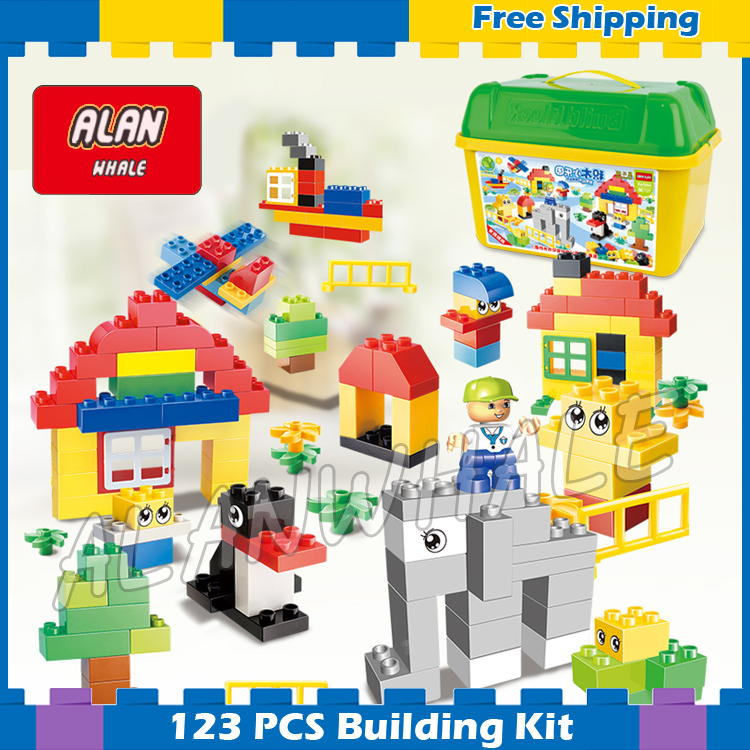 123pcs My first Park Model Building Blocks Big Size Action Bricks 2018 Toys Gifts Sets Boys Kit Kids Compatible With Lego Duplo