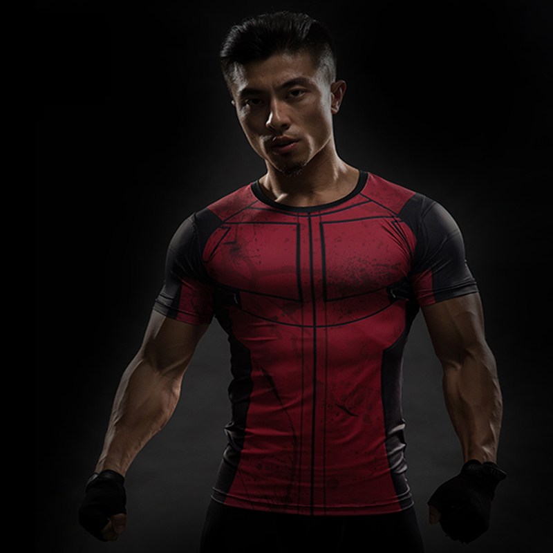 Captain America superhero man fitness t-shirts with short sleeves 3D Printing Die shi Tight t-shirts with short sleeves ...