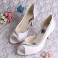 Wedopus Custom Handmade Latest Women Party Dress Shoes White Satin Pumps 8CM Heel Plus Size